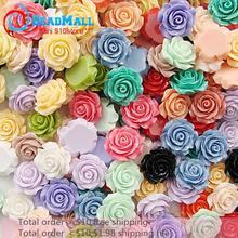 Минимальный заказ $10 Бесплатная доставка 20mm100pcs сочетание цветов Смола Роза, смолы цветок смешанных цветов кабошоны Камея DIY210197