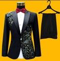 Hot 2016 New spring Men plus size suit black Diamond suits groom wedding dress singer stage costumes (suits+ pants +Tie +girdle)