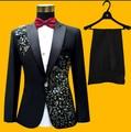 Hot 2016 Nova primavera Dos Homens plus size terno preto ternos do noivo do casamento do Diamante vestido de estágio cantor trajes (ternos + pants + Tie + cinturão)
