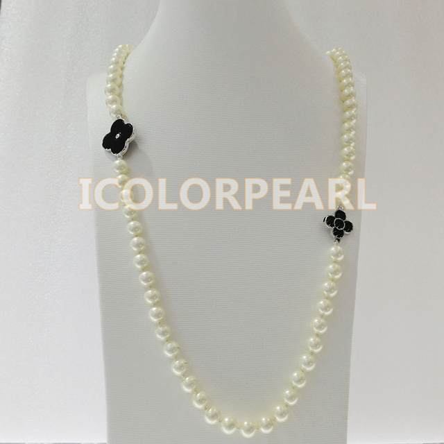 80CM 8MM Round White Mother Pearl Sweater Necklace.