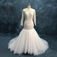 Pearl Beads Crystal Mermaid Wedding Dresses Long Sleeves Luxury Lace Wedding Gowns Vestido De Novia Bridal