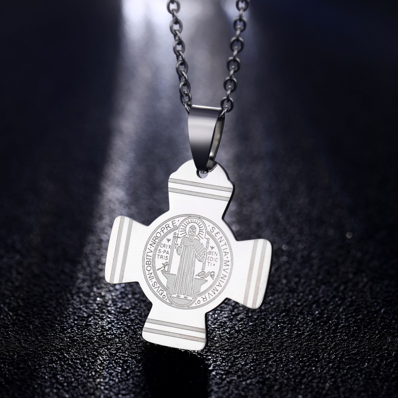 f1d39d3d814c3 2 Color Medal Of Saint Benedict In Cross Jesus Christian Jewelry ...
