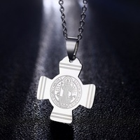 Classic San Benito Medal Cross Jesus Necklace Stainless Steel Catholic Saint Benedict Pendants Necklaces for Women Men Jewelry
