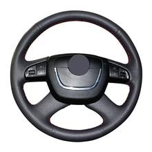 Hand-stitched Black Artificial Leather Car Steering Wheel Cover for Skoda Octavia Octavia a5 a 5 Superb 2012 2013 Fabia 2010 недорого
