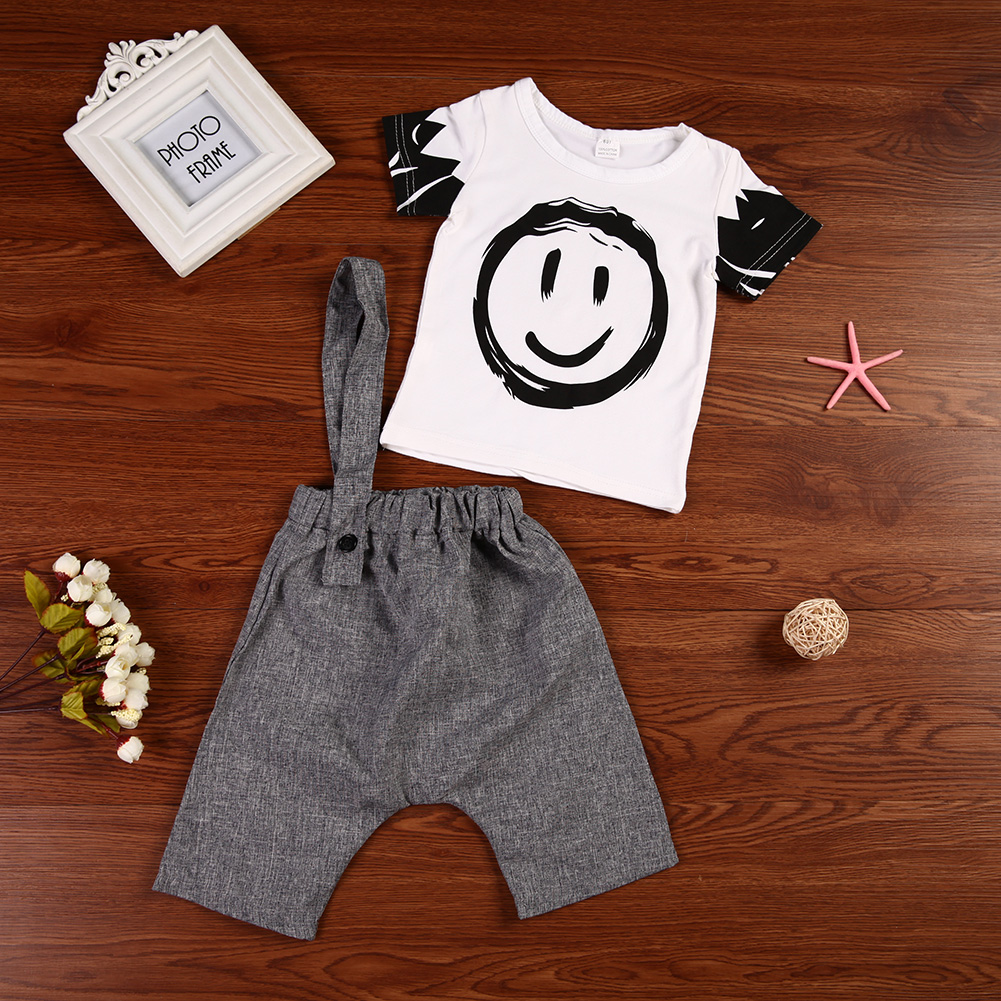 2pcs/set Children Clothing Set Boys Summer Short Sleeve Smile Printed T-Shirt+Flax Capris Pants Fashion Kids Outfit Set for 1-5Y
