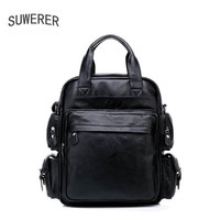 SUWERER 2019 New men Genuine leather bag famou brand real leather men bags Business travel backpack big capacity men backpack