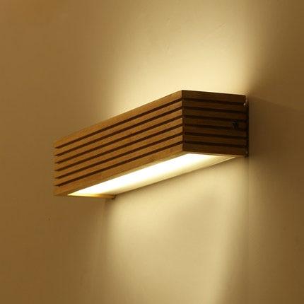 Modern Japan Style Led Oak wooden Wall Lamp Lights Sconce ...
