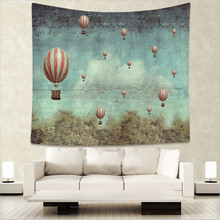 Landscape Hot Air Balloon Tapestry Sunlight Stripe Turtle Wall Hanging Peacock Moroccan Dorm Decor Bedspreads 130Cm Woven Fancy