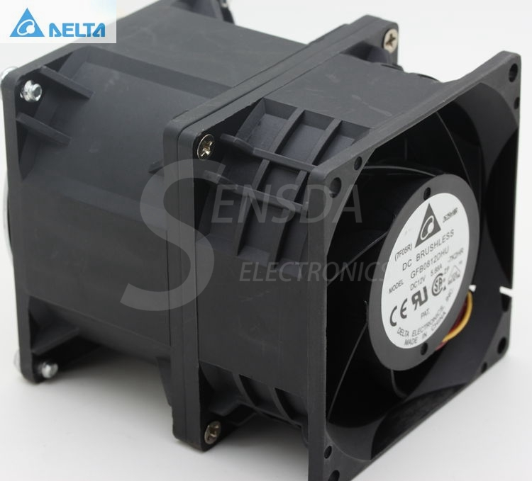 For Delta GFB0812DHU 80mm 8cm High Speed Violence Fan DC 12V 5.88A Powerful Dual Motor Industrial Cooling Fans