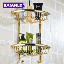Free Shipping Golden Brass Bathroom Shelves 2-Tier Bathroom Storage Basket Wall Mount Bathroom Shelf