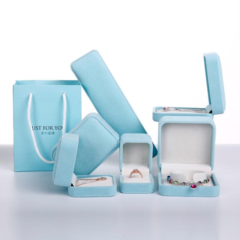 5 Pcs/Lot Jewelry Package High Quality Velvet Box Craft Bag Pure Aquamarine Necklace Bracelet Gift Box Wedding Engagement Gift