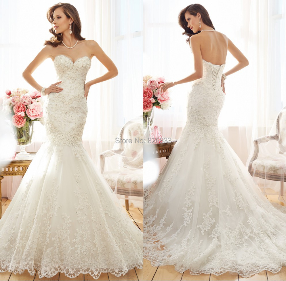 Wedding Gowns For 2015: Romantic Style Appliques Sweetheart Ivory Lace Mermaid