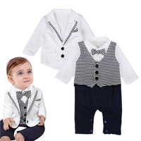 Gentleman Baby Boy Clothes White Coat Striped Rompers Clothing Set Newborn Wedding Suit