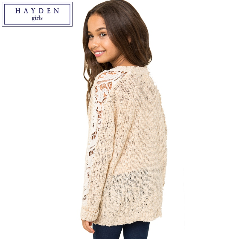 ФОТО HAYDEN Girls Spring Sweater Tops Pullover Oversize Knitted Top for Kids Long Sleeve Loose Fit Teenage Girl Sweater Lace Trim