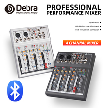 Free shipping!High quality!Debra F4 4-channel portable audio mixer DJ music console with XLR Bluetooth USB 48V phantom power