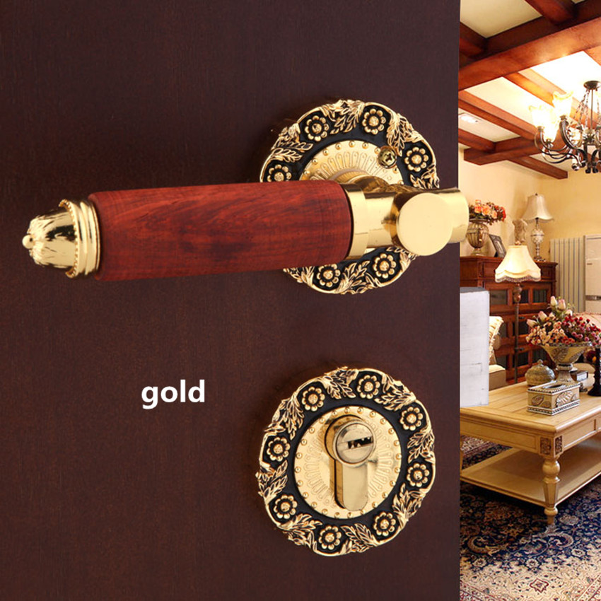 Modern fashion gold indoor door lock Redwood bedroom bookroom door lock Retro bronze wooden door locks Top quality european fashion ivory white bedroon door handles antique bronze mute wooden door lock gold indoor locks modern simple