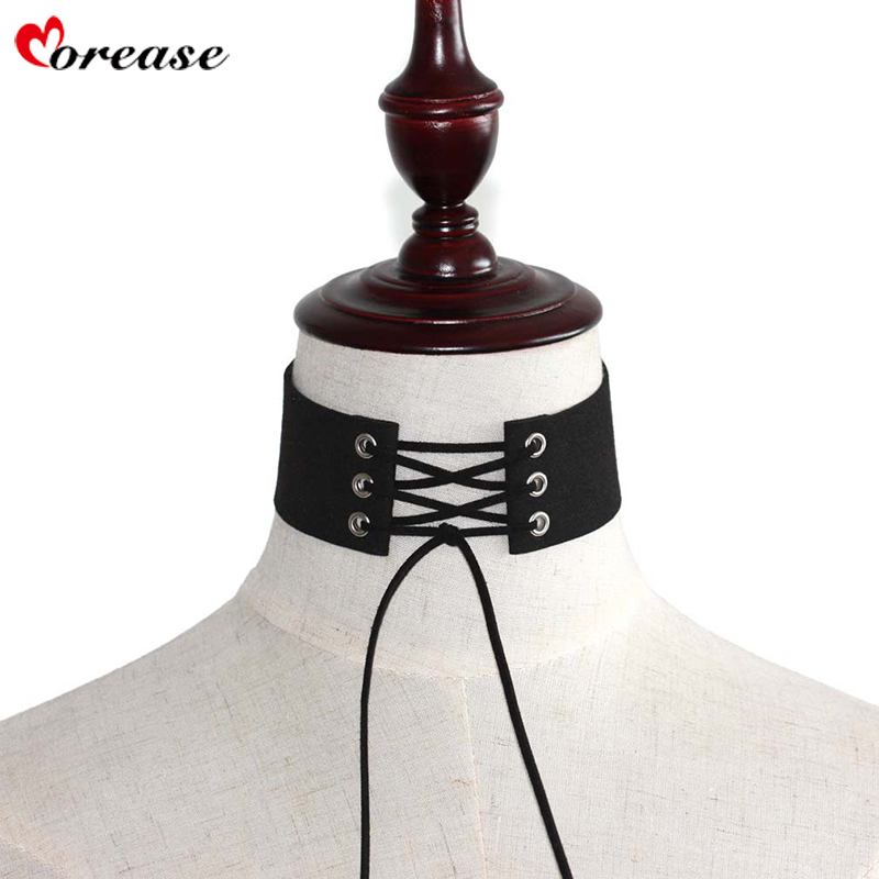 Morease Sexy Necklace Punk Women Collar Lace Bow Knot Choker Sex Toys Bondage Teasing Adult Game Charm Sexual Female Brinquedos