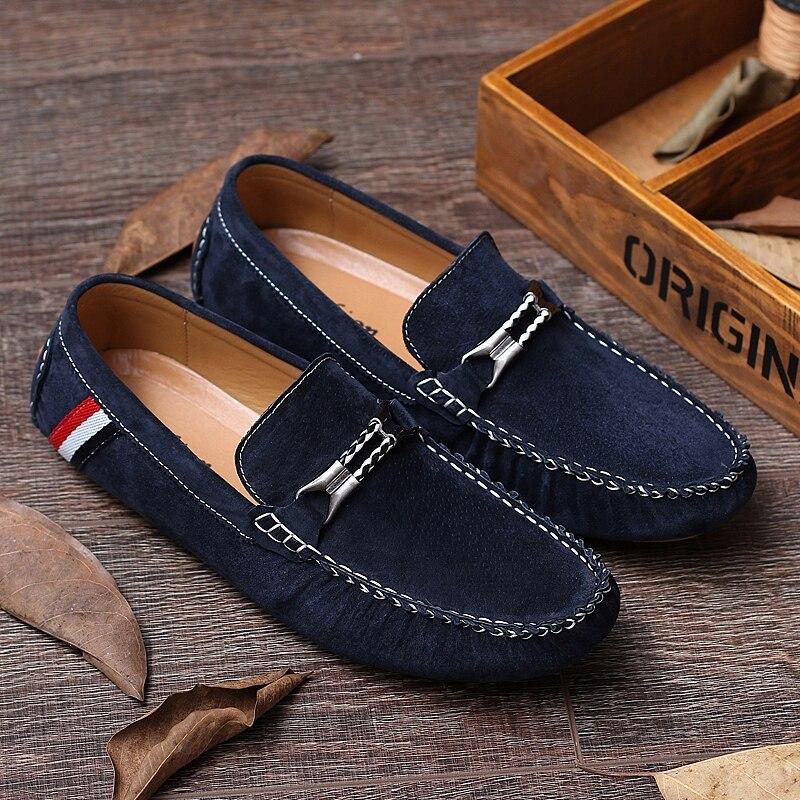 Cáqui Moda khaki Azul Mocassins Homens Casual gray Sapatos Não Adulto Em Clássicos Da deslizamento 2019 Calçado Black Masculino Deslizamento Flats blue Para Unidade OxwFACqOX