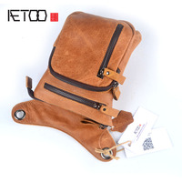 AETOO Natural Leather Waist Bag Men's Multi function Shoulder Bag Fanny Belt Sling Bags For Travel Mobile Phone