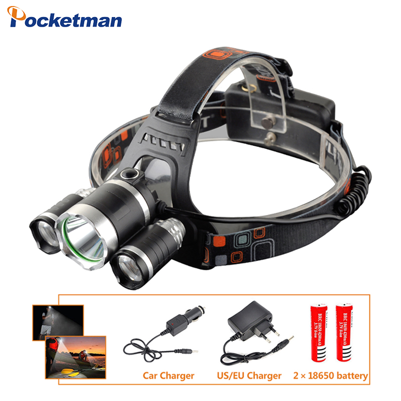 3 LEDs Headlamp XM-L T6 9000 Lumen LED Headlamp Headlight Caming Hunting Head Light Lamp+2*18650 Battery + AC/Car Charge z30 ...