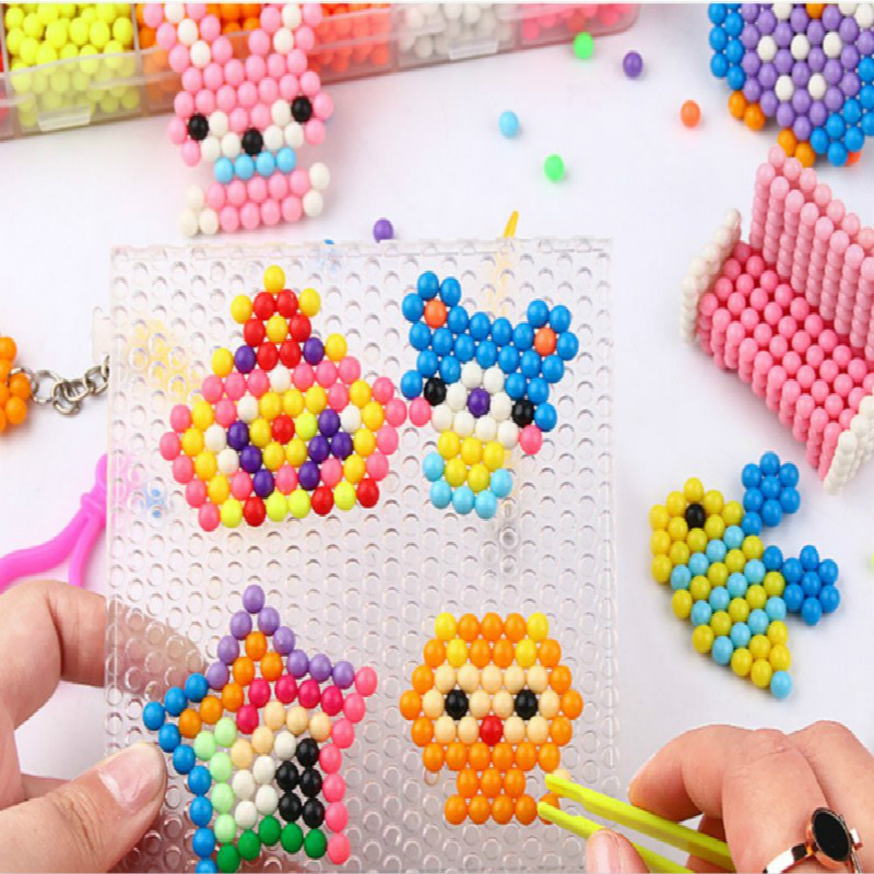 1100pcs Children Water Fog Magic Beads Toys Kids Handmade DIY Puzzle Boy Girl Water Beads Spell Beanie Puzzle Children'S Toy Set