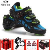 Tiebao bicicleta de estrada ciclismo sapatos homem adicionar pedal conjunto superstar homem tênis feminino atlético ciclismo equitação sapatos