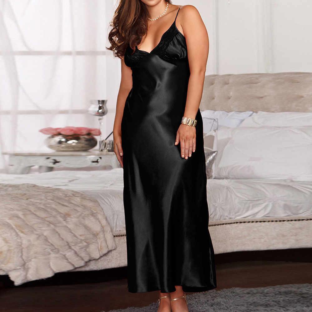 女性オーバーサイズサテンロング寝間着シルクレースセクシーなランジェリーナイトガウンのパジャマ Sleepshirts