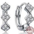 Geometric 100% 925 Sterling Silver White Cubic Zircons Hoop Earrings Women Wedding Party Crystal Ear Vintage Small Cute Jewelry