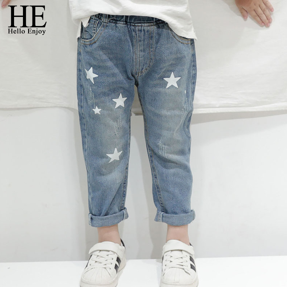 HE Hello Enjoy Toddler Boy Jeans Autumn Print Stars Boy Clothes Denim Pants Elastic Waist Children Trousers Kids Jeans Girls(China)