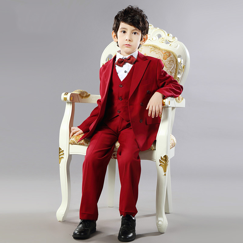 Boys Suits For Weddings Dress Kids Prom Suits Black Red Wedding Suits Boys Tuxedo Children Clothing Set Boy Formal Costume F56