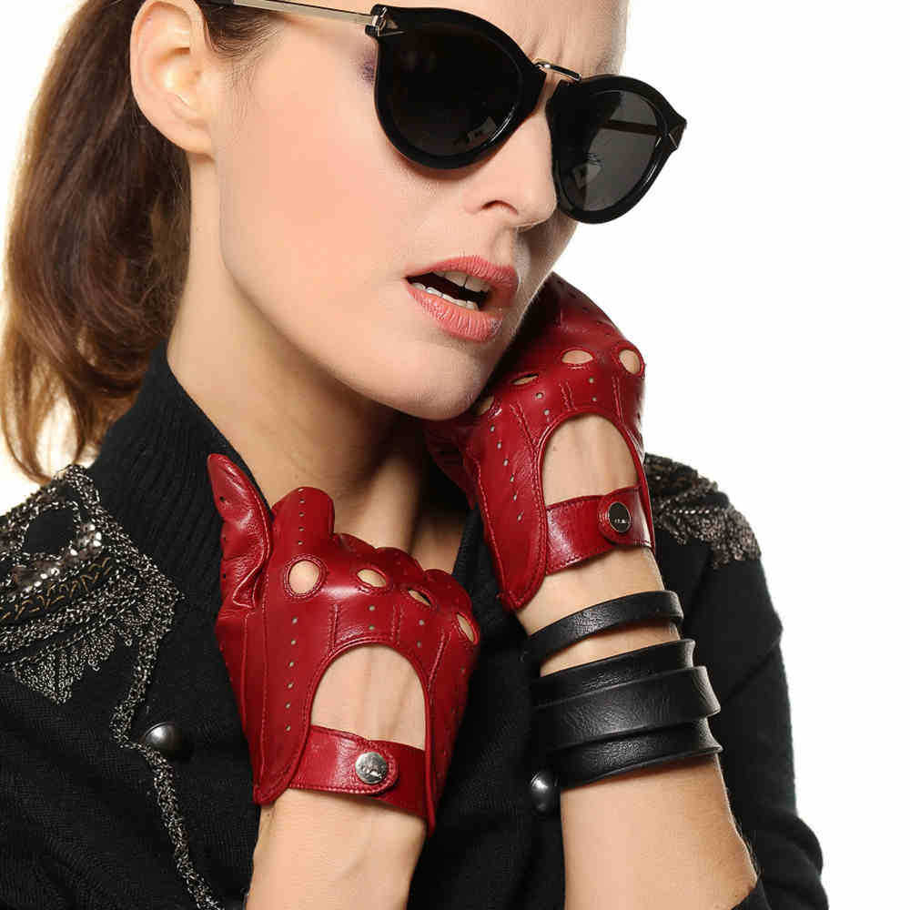 Womens leather smartphone gloves - Hot Sale New Women Leather Gloves Nappa Sheepskin Solid Wrist Breathable Real Genuine Fashion Driving Glove