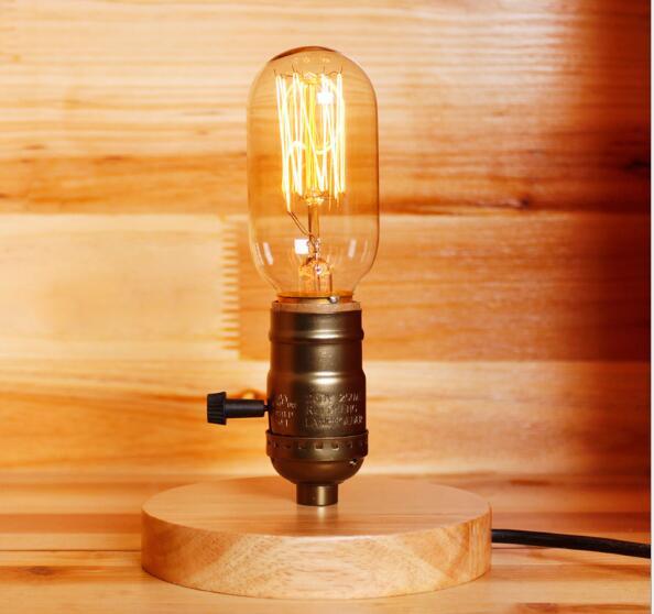 edison table lamp vintage home lighting. Loft Vintage E27 Holder Edison Bulb Table Lamp,Wood Base Light,Desk Lamps, Edison Table Lamp Vintage Home Lighting L