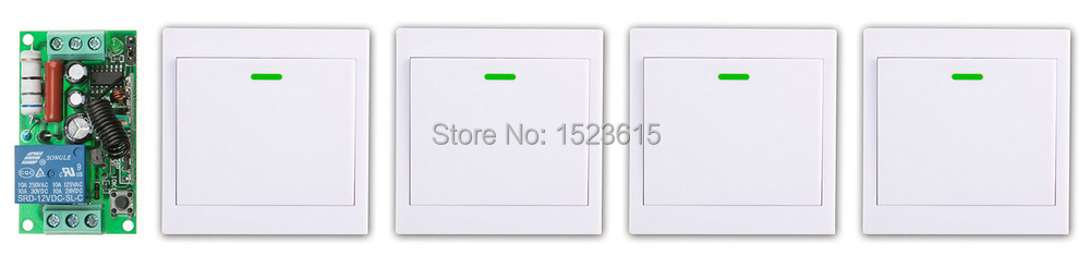 New AC220V 1CH Wireless Remote Control Switch System Receiver +4* Wall Panel Remote Transmitter Sticky Remote Smart Home Switch ac 220 v 1ch wireless remote control switch system receiver wall panel remote transmitter sticky remote smart home switch