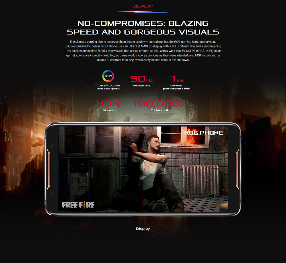 "ASUS ROG Telephone ZS600KL 8GB RAM 128GB ROM Gaming Phone Snapdragon 845 2.96GHz 6.0""18:9 AMOLED Screen Android8.1 4000mAh OTA 50"