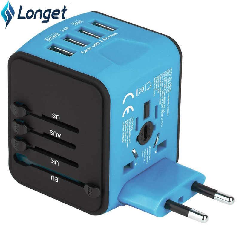 Najdłuższy nowy podróży Adapter międzynarodowych uniwersalny zasilacz z 4 USB na całym świecie ścienne wtyczki zasilania ładowarka do UK/ue/AUS /US