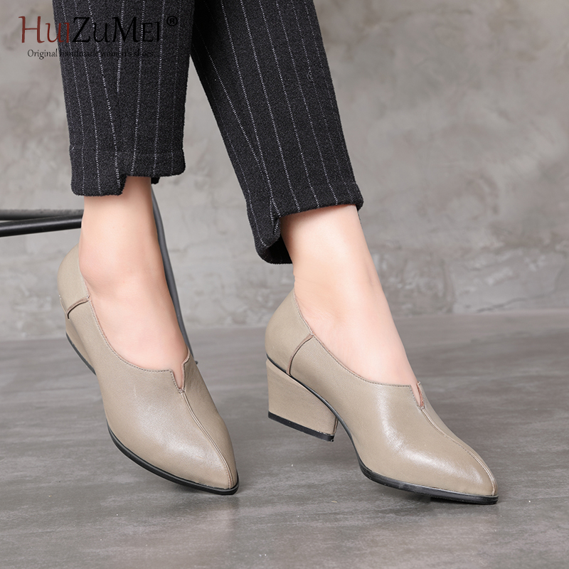 HUIZUMEI Gray High Shoes Woman 2018 Fashion Leather Women's Shoes Original Retro Hand-made Single Shoes Woman Square Heel