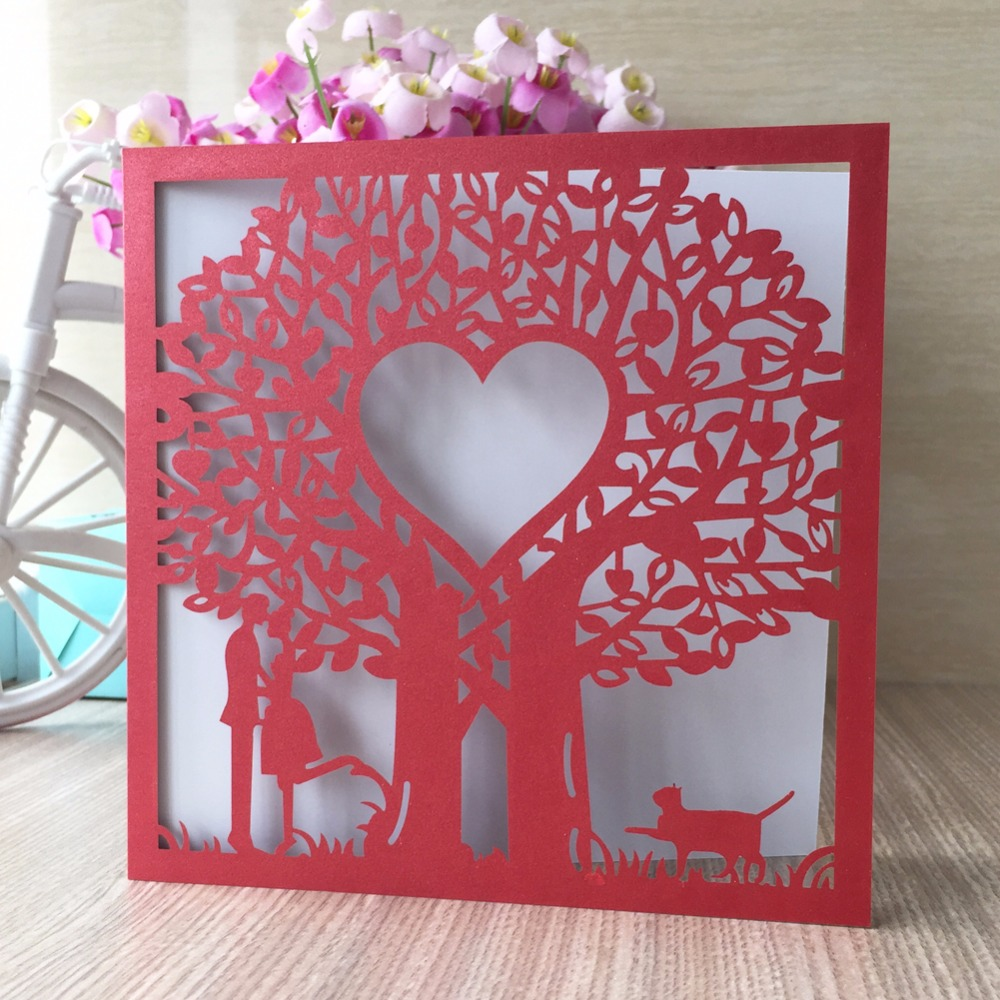 25Pcs/lot Chinese Red Love Tree Laser Cut Wedding Invitation Cards ...