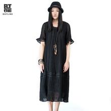 Контур брендовая хлопковая льняное платье в национальном стиле оригинальные Дизайн Платья для женщин сезон: весна–лето свободные Для женщин средней длинное платье l161y010