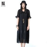 Outline Brand Cotton Linen Dress National Trend Original Design Dresses Spring Summer Loose Women Medium Long Dress L161Y010