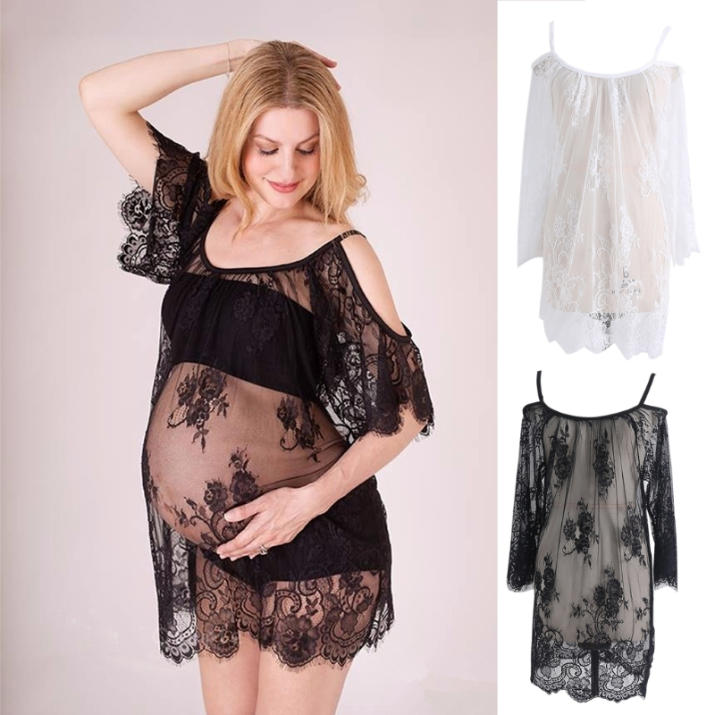 Lace See Through Maternity Dresses Sleepwear Studio Clothes Pregnancy Photo Prop Maternity Dress Photography