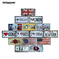 Famous City Car American License Plate Vintage Home Decor Tin Sign Shabby Chic Metal Sign Plaque Metal Decorative 15*30 CM