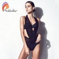 Andzhelika Bikini Woman Push Up Swimwear Sexy Mesh Patchwork Bikinis Set Three Kinds Of Wear Law