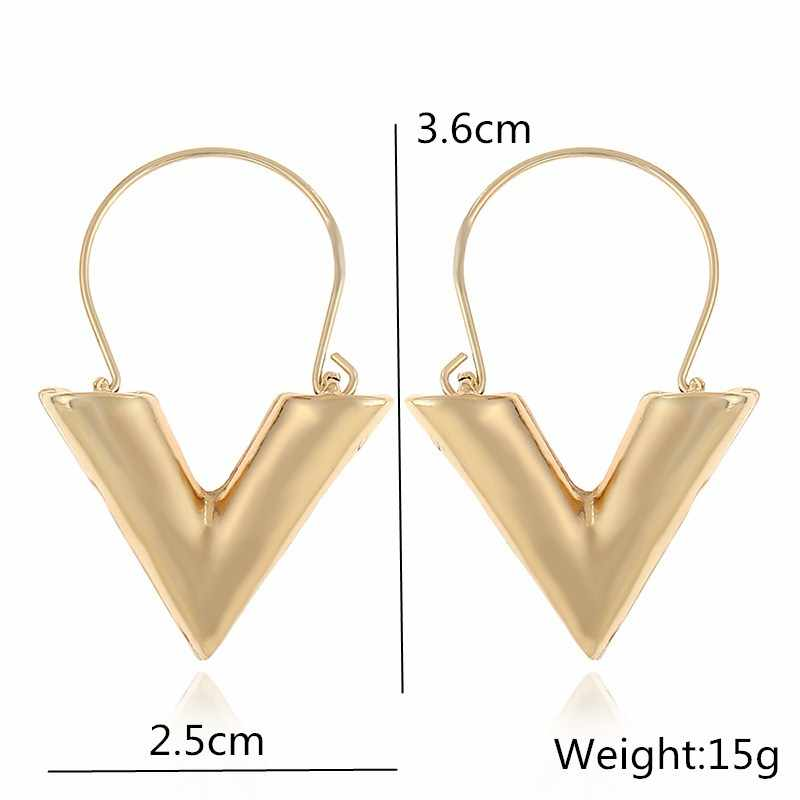 New Elegant Big Vintage Metal Earrings for Women Gold Color Geometric Statement Drop Earring Hanging Fashion ZA Trend Jewelry