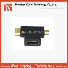 цена на 10pcs/lot New 3-in-1 1080p HDMI Female to Micro / Mini HDMI Male Adapter Connecter Type D C A Free Shipping hdmi 1 to 2