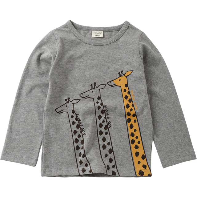 New Cute Giraffe Printed T Shirts Autumn 2018 Children Tops Kids Clothing Boys T-shirts Long Sleeve Girls Blouse Cotton Tshirts