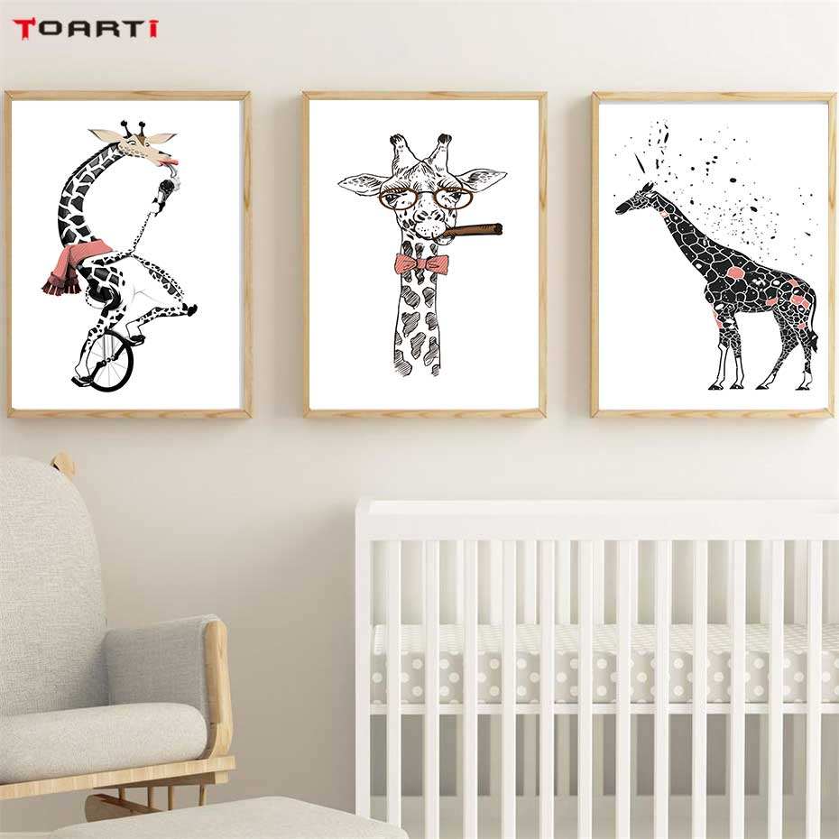 Image 3 - Cool Giraffe With Cigar Prints Posters Cartoon Animals Canvas Painting On The Wall For Kids Living Room Home Decor Art Pictures-in Painting & Calligraphy from Home & Garden