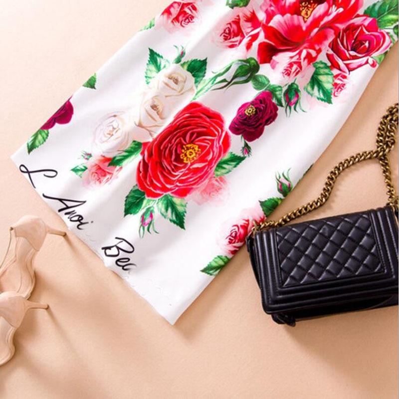 Femmes Impression Floral 2018 Mince Courtes Piste Vintage Designer Robe Manches À Vêtements Féminine D'été Boutons Jewlery Tunique CqwExSIx4