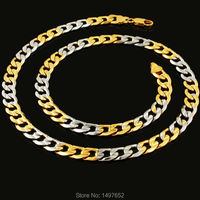 Unieke Desigh Goud/Verzilverd 20 Inches 7 MM Curb Cubaanse Link Ketting Kettingen Goud NecklaceMen Vrouwen Sieraden