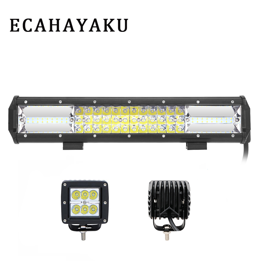 ECAHAYAKU 2 Pcs 3inch Led Pod 18W Spot 1 Pcs 15inch 216W Combo beam Led Light Bar for Offroad SUV Jeep Tractor Trailer 10-30V DC