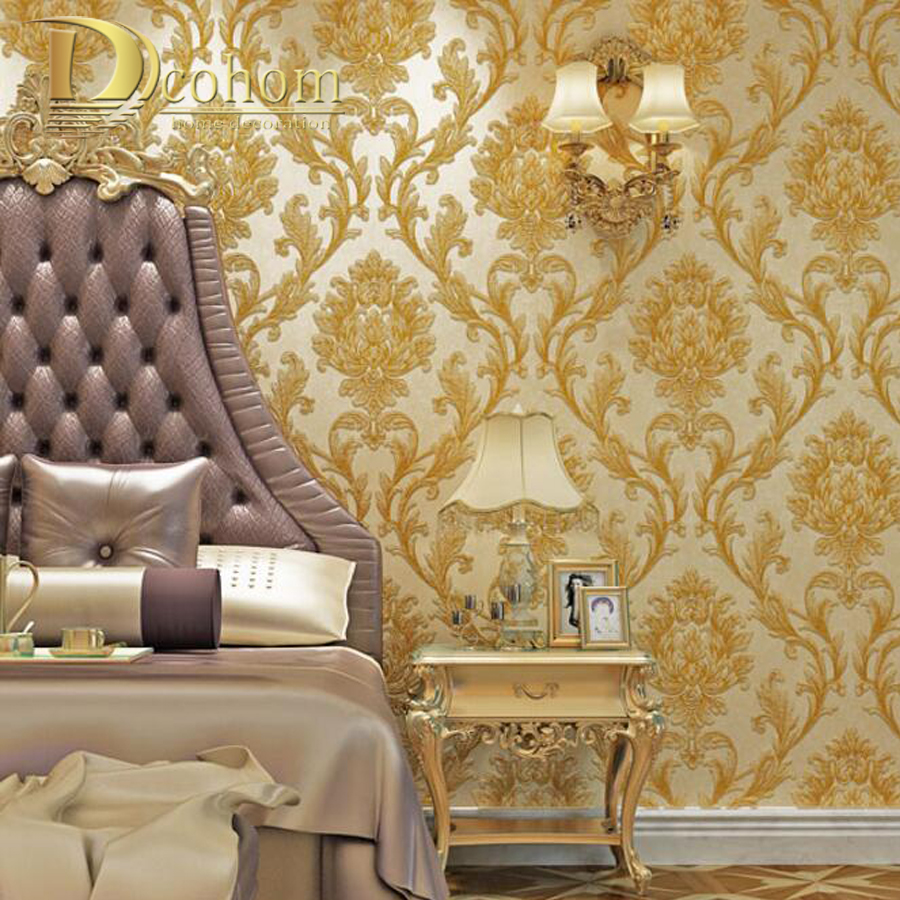Brown Gold Yellow Textured Luxury Damask Wallpaper Damask Striped ...